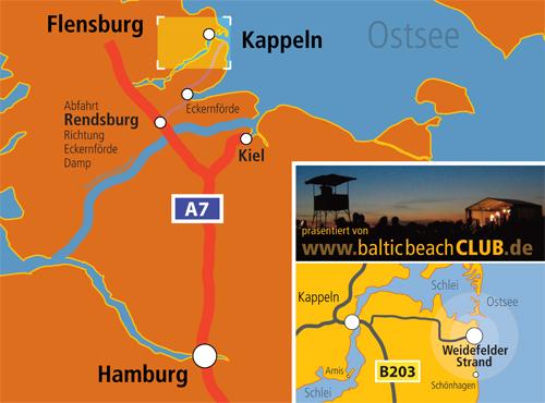 Anfahrt zum Baltic Beach Club - Konzertfestival am Weidefelderstrand