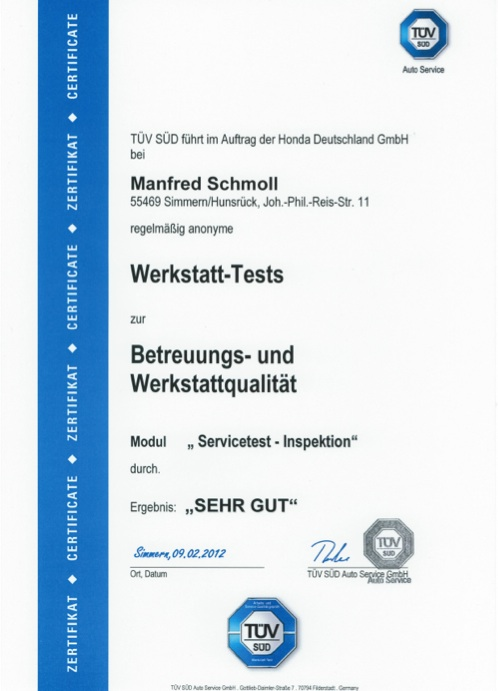 Zertifikat Autohaus Schmoll